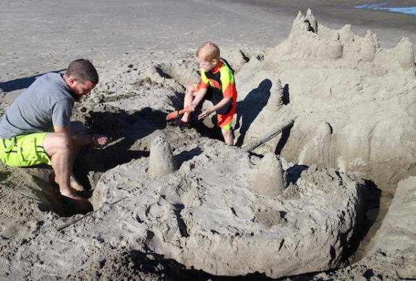 making sandcastle