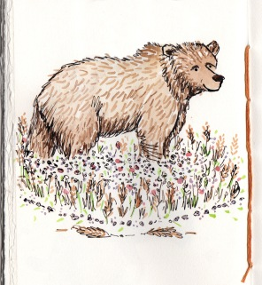bear sketch 3: happy peace-lovin vegan bear