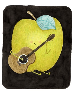 Apple Playing Guitar