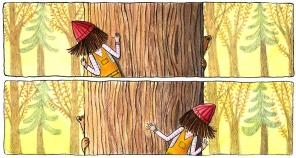 Fern and Bear Peeking Around Tree
