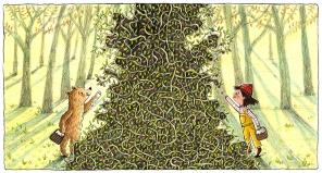 Fern and Bear Picking Berries